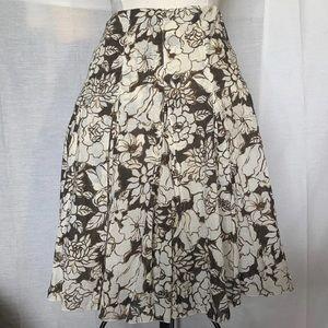 Brown Floral Print Skirt Ann Taylor